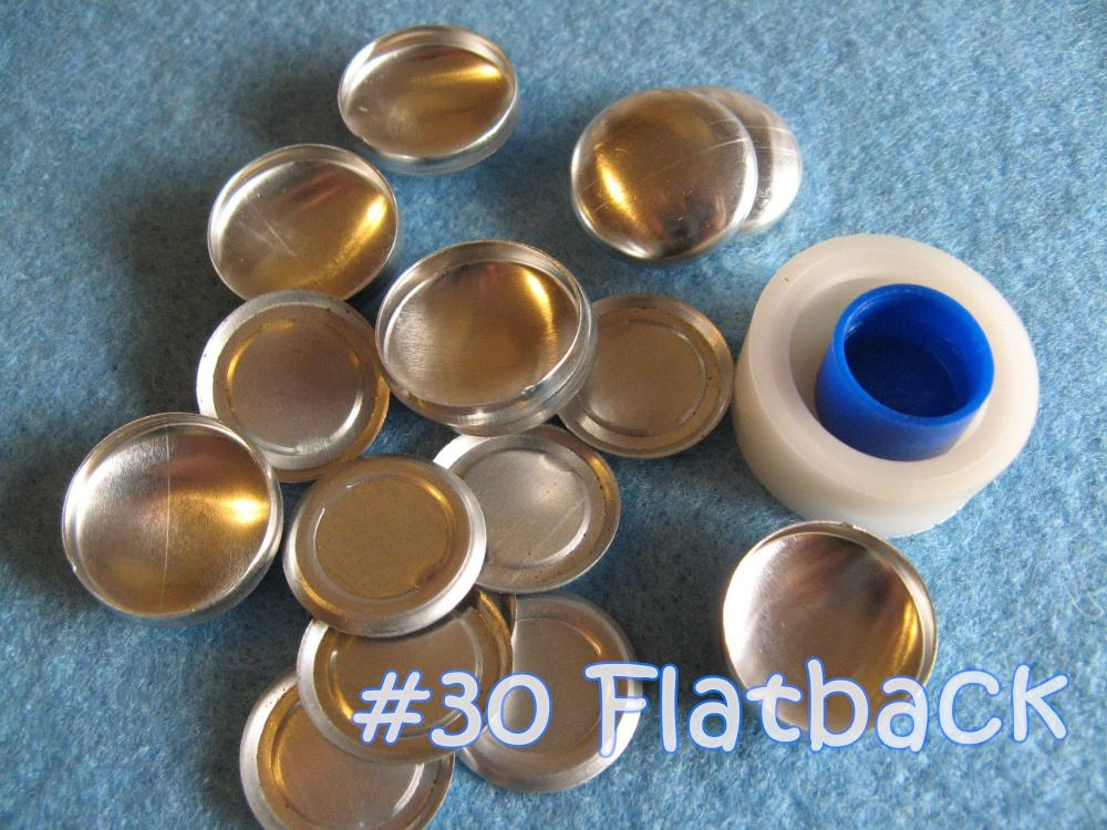 Covered Button Kit FLAT BACKS- 3/4 inch - Size 30