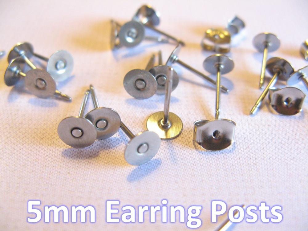 24pcs Surgical Stainless Steel 5mm Flat-Pad Earring Posts and Backs