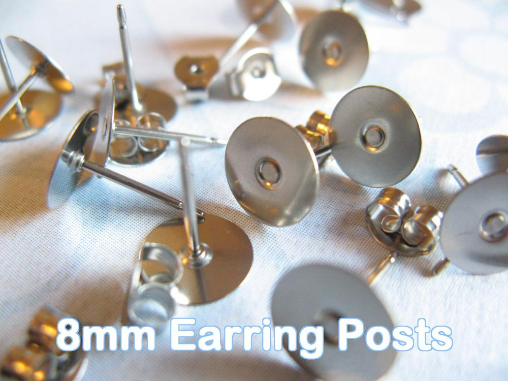 48pcs Surgical Stainless Steel 8mm Flat-Pad Earring Posts and Backs