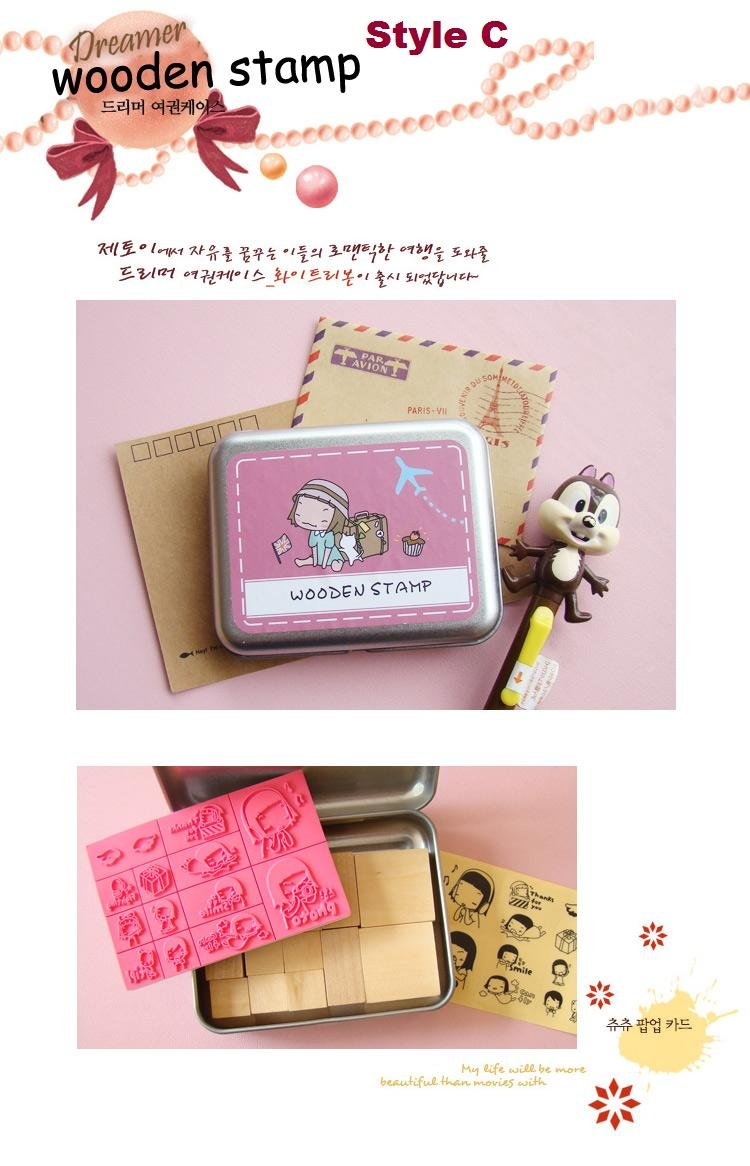 Korean DIY Wooden Stamp Set - Dark Pink