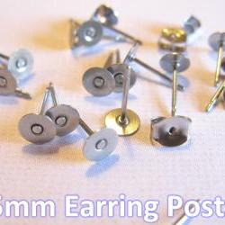 100pcs Surgical Stainless Steel 5mm Flat-Pad Earring Posts and Backs
