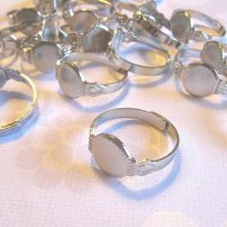 SALE - 100 Adjustable Ring Blanks - 10mm pad - silver