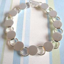 Disk Loop Glue On Bracelet 7.2 inch - Silver Plated